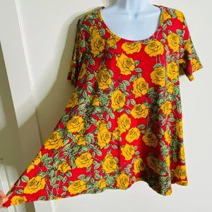 LuLaRoe Tops - LULAROE Red Floral Short Sleeve Flare Tunic Top